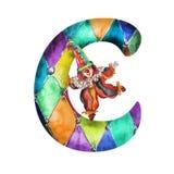 字体C白色的水彩小丑 库存照片