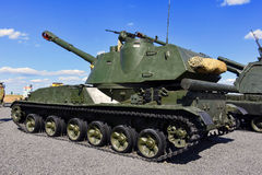 2C3 Akatsiya,Self-propelled howitzer. Self-propelled howitzer 2C3 `Acacia`, Kadamovsky polygon, Russia, September 9, 2016. Forum `Army-2016`. Entry and shooting Royalty Free Stock Images