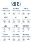 C alendar 2019年,星期从星期天,企业模板开始 免版税图库摄影