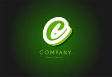 C alphabet letter logo green 3d company vector icon design. C alphabet letter hand written hand writing green white logo 3d vector creative company icon design royalty free illustration