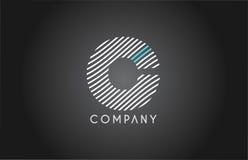 C alphabet line stripe white blue letter logo icon design Royalty Free Stock Photos