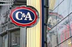 C&A Clements e logotipo da loja de agosto Imagens de Stock