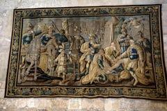 17C Aubusson挂毯画廊在圣徒Trophime大教堂Godefroy中de Bouillon展示生活显示的在耶路撒冷,阿尔勒, Fr 免版税库存图片