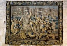 17C Aubusson挂毯画廊在圣徒Trophime大教堂Godefroy中de Bouillon展示生活显示的在耶路撒冷,阿尔勒, Fr 免版税库存照片