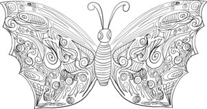 Coloring butterfly for adults and older children stock illustration