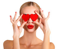 C Beautiful woman bright makeup and red heart Royalty Free Stock Photos