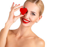C Beautiful woman bright makeup and red heart Royalty Free Stock Images