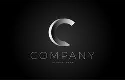 C black white silver letter logo design icon alphabet 3d Royalty Free Stock Photo