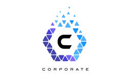 C Blue Hexagon Letter Logo with Triangles. C Blue Hexagon Letter Logo Design with Blue Mosaic Triangles Pattern vector illustration