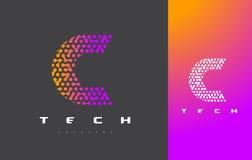 C-bokstav Logo Technology FörbindelseDots Letter Design Vector Royaltyfri Foto