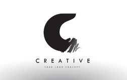 C Brushed Letter Logo. Black Brush Letters design with Brush str Royalty Free Stock Photography