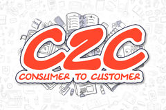 C2C - Cartoon Red Word. Business Concept. Stock Images