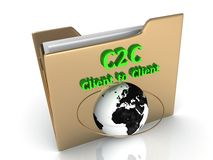 C2C Client to Client bright green letters on a golden folder Royalty Free Stock Image
