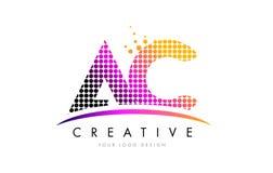 C.A.A.C. Letter Logo Design avec les points et le bruissement magenta Photos stock