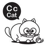 C Cat cartoon and alphabet for children to learning and coloring Royalty Free Stock Images