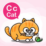C Cat color cartoon and alphabet for children to learning vector Stock Photos