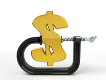C clamp squeeze dollar Stock Photos