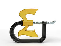 C clamp squeeze pound Stock Image