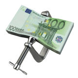 C clamp squeezing Euro currency Stock Images
