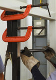 C-Clamp - for steel work shop. Stock Image