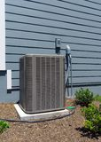 A/C compressor units. Residential house air conditioner compressor units stock images