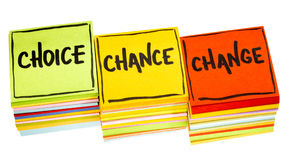 3C concept - choice, chance and change. Handwriting in black ink on isolated sticky notes Royalty Free Stock Image