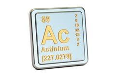 C.A. d'actinium, signe d'élément chimique rendu 3d Image stock