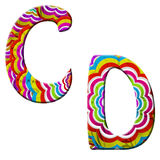 C,D, Colorful wave font illustration. Royalty Free Stock Image