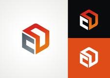 C D embleem in hexagonale vorm stock illustratie
