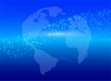 C?digo binario de intercambio de datos global de la tierra del planeta Concepto azul del negocio del ataque cibernético de la inf ilustración del vector