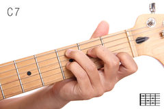 C dominant seventh guitar chord tutorial Stock Image