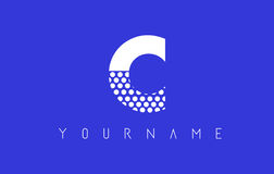 C Dotted Letter Logo Design with Blue Background. Royalty Free Stock Images