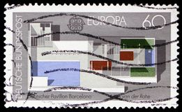 C.E.P.T.- Modern architecture, serie, circa 1987. MOSCOW, RUSSIA - FEBRUARY 20, 2019: A stamp printed in Germany, Federal Republic, shows C.E.P.T.- Modern stock image