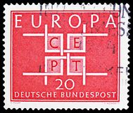 C.E.P.T. - Square, serie, circa 1963. MOSCOW, RUSSIA - FEBRUARY 21, 2019: A 20 Pf red postage stamp printed in Germany, Federal Republic shows C.E.P.T. - Square royalty free stock image