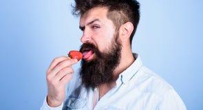 C'est comment été de goûts Équipez le hippie sexy beau avec la longue barbe léchant la langue de fraise Le hippie apprécient mûr  photo stock