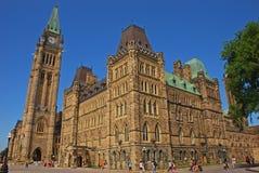 C'est le bloc de centre qui est le bâtiment principal du complexe parlementaire canadien sur la colline du Parlement, Ottawa, Ont image libre de droits