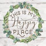 C'est ma guirlande florale de coton heureux d'endroit avec le fond chic minable en bois image libre de droits