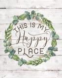 C'est ma guirlande florale de coton heureux d'endroit avec le fond chic minable en bois images libres de droits