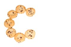 C está para las galletas de viruta de chocolate Imágenes de archivo libres de regalías