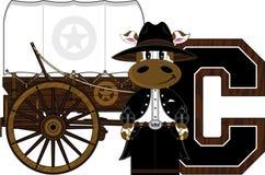 C est pour le cowboy Cow Photo libre de droits