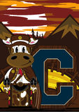 C est pour le cowboy Cow Image libre de droits
