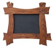 C'est un cadre de photo et de photo d'ardoise fait de bois dans le style rustique sur le fond blanc d'isolement photographie stock libre de droits
