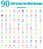 90 icônes de SEO pour la conception web - version simple de couleur Images stock