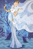 Illustration indienne de style de bande dessinée de caractère de femme Photos stock