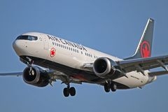 C-FSIP: Air Canada Boeing 737 MAX 8 At Toronto Pearson. C-FSIP, an Air Canada Boeing 737 MAX 8 B38M, is seen here on final approach to Toronto Pearson royalty free stock photos
