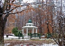 C. G. Hill Memorial Park. The remains of a recent snowfall sit on the gazebo and trees at C. G. Hill Memorial Park in Winston-Salem, North Carolina stock image
