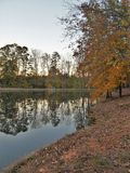 C. G. Hill Memorial Park. Trees reflecting in the lake at sunset. C. G. Hill Memorial Park in Pfafftown, North Carolina stock images