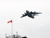 C-17 Globemaster on fly-by for National Day of Honour in Canada. OTTAWA - MAY 9:  A Canadian forces C-17 Globemaster flies by for ceremonies in Ottawa, May 9 Stock Photos