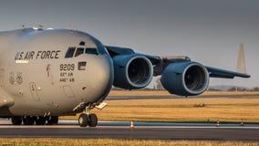 C17 Globmaster USAF. PRAGUE - SEPTEMBER 13: U.S. Air Force C-17 Globmaster stand at PRG Airport on September 13, 2018 in Prague, Czech Republic. Boeing C-17 stock photo