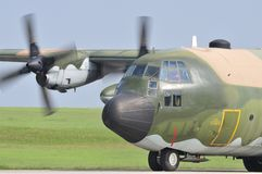 C130H Hercules. Military transport aircraft head close-up Stock Image